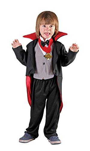 Boland 78091 Costume Vampiretto Bambino Creepy Vampire, Nero/Rosso, 3-4 anni