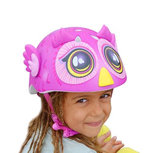 3D rosa Eule Kinder Helm Männer und Frauen Schatz Fahrrad Röllchenschutzkleidung, Fahrradhelm mit 3D-Charaktereigenschaften, Motocross-Helm