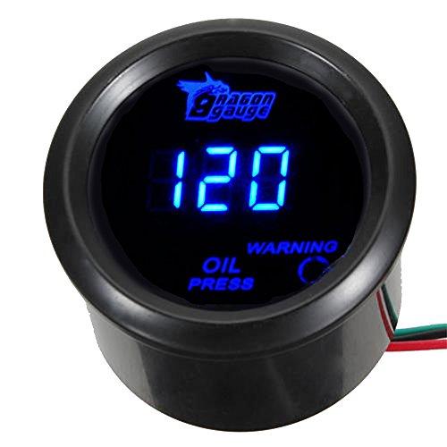 Mintice 2' 52mm Negro medidor Digital de Coche luz LED Azul medidor de Prensa de Aceite presión Calibre Motor