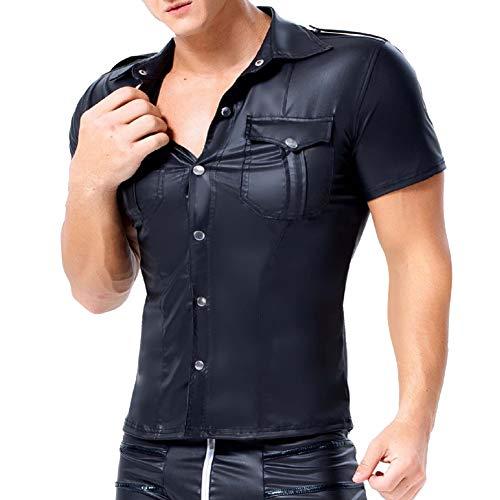 AKAKKSKY Herren T-Shirt Leder Latex Hemd Tops Kurzarm Revers Versuchung Unterhemd Wetlook Übergrößen Reizwäsche,Black,S