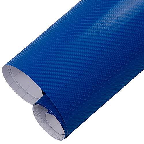 Cine de coches- 4D azul de fibra de carbono del coche del vinilo del abrigo del rollo de película autoadhesivasFabricamos pegatinas de burbuja libre del coche que labra los accesorios 152cmx30cm (60''