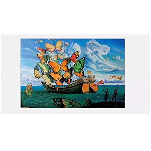 WSTDSM Barco con Velas De MariposaSalvador Dali Cartel Artístico Lienzo Pintura Decoración del Hogar 24X32 En Sin Marco