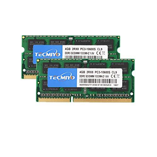 TECMIYO 8GB Kit (2x4GB) PC3-10600S DDR3 1333MHZ Sodimm RAM 2