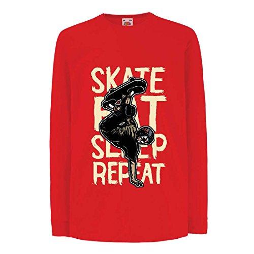 Camisetas de Manga Larga para Niño Eat-Sleep-Skate-Repeat para el Amante del monopatín, Regalos del Skater, Ropa Que anda en monopatín (9-11 Years Rojo Multicolor)