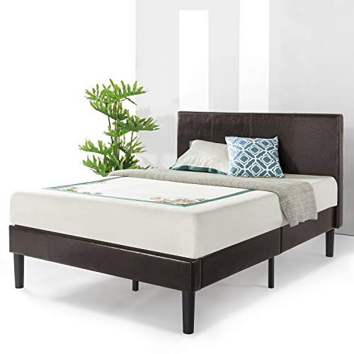 Best Price Mattress Queen Bed Frame - Agra Grand Upholstered Faux Leather Platform Beds with Headboard & Wooden Slats (No Box Spring Need), Queen Size