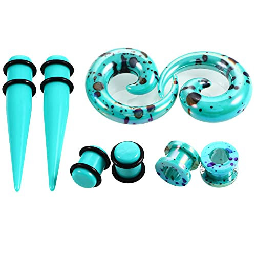 AIUIN 4 par Expansión del oído Diferentes Modelos Dilatadores de Oreja Gel de sílice Estiramiento de Orejas 2-10 mm (2 mm,Azul)