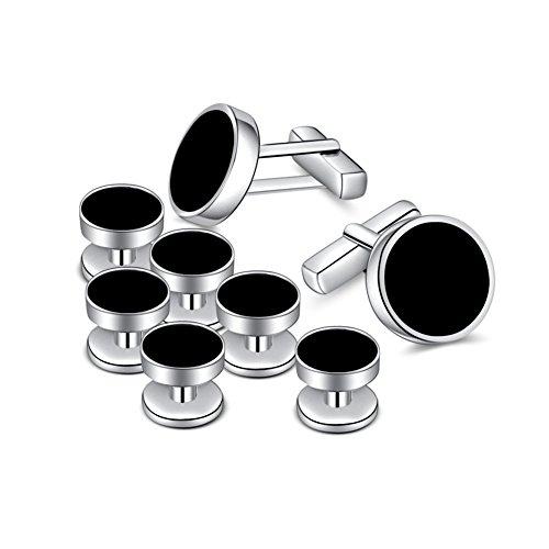 MERIT OCEAN Herren-Manschettenknopf- und Kragenknopf-Set mit Onyx - silberfarben und schwarz, für Smokings, Shirts, Geschäftskleidung, zur Hochzeit, als Geschenk