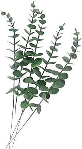 Peoxio Lot de 10 feuilles d'eucalyptus artificielles au toucher réaliste pour bouquet de mariage, décoration d'intérieur (gris vert)