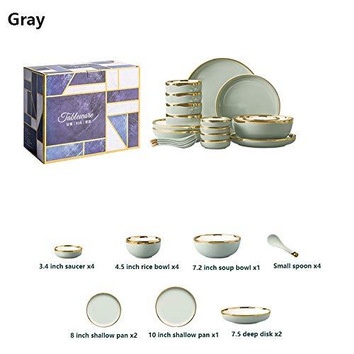 Round gerechten Servies Sets, serviezen Set - Diner bord, salade, graan kom met gouden rand (Color : Gray)