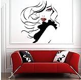 Zjxxm Pin Up Girl Women Modern Hair Salon Etiqueta De La Pared Decal Mural Transfer F796 57 * 63 Cm...