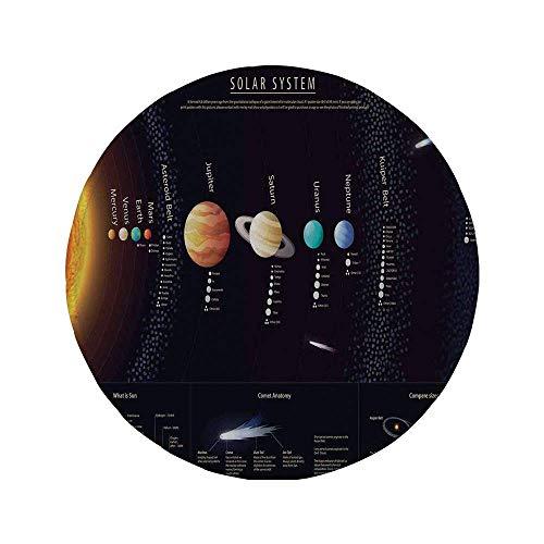 Alfombrilla de ratón Redonda de Goma Antideslizante decoración del Espacio Exterior Sistema Solar detallado con información científica Impresión del telescopio del Universo de Júpiter Saturno múlti