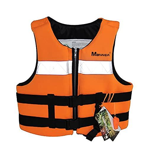 MoYoTo Adultos Chalecos Salvavidas Alta Flotabilidad con Tira Reflectante Y Chaleco Salvavidas con Silbato para Nadar, Pescar Y Surfear,Naranja,XL