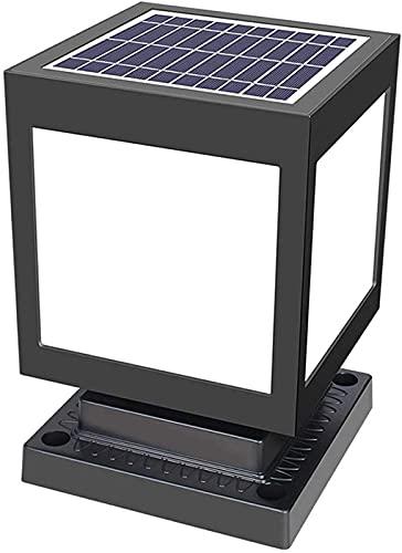 Luces solares para poste de exterior, lámpara de pilar moderna, lámpara de pie de jardín negra impermeable, luz de camino de ABS para patio, terraza, lámpara de columna al aire libre, luz blanca