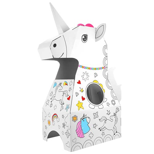 22Baby Juego de manualidades para nios, figuras de animales de cartn para pintar con acuarelas, juguete pedaggico Montessori, promueve la creatividad y el rendimiento cognitivo, unicornio