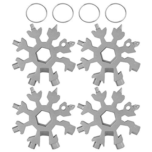 18-in-1 Stainless Steel Snowflake Multi-Tool Portable Keychain Screwdriver Bottle Opener Tool Great for Men (Silver 4pack)
