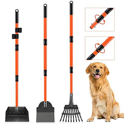 Dog Pooper Scooper, Telescopic Pooper Scooper with Adjustable Long Handle, Durable Metal Rake Tray Spade, Pooper Scooper for Large Dogs Medium Small...