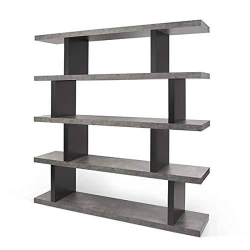 mds Step, étagère : 2 hauteurs pour de Multiples utilisations - Designer : TEMAHOME - étagère Haute: 172 x 163 x 36 cm (H x L x P) - Effet béton et Noir