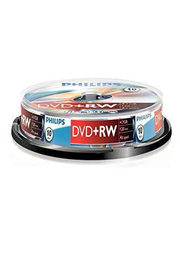 Philips DW4S4B10F/10 DVD+RW 4.7GB, 4X, 120 minuti, Confezione da 10 Pezzi
