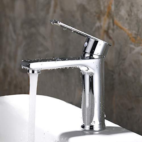 Solepearl Waschtischarmatur Elegant Wasserhahn Bad Mischbatterie Einhebel Waschtisch Armatur Kaltes und Heißes Wasser Vorhanden, Messing Verchromt