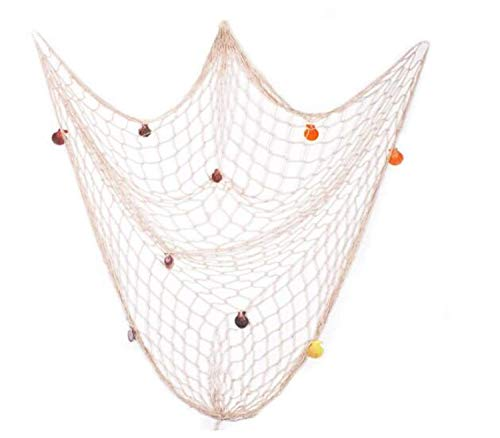 Mediterraner Marinestil Weiche Dekoration Dekoratives Fischernetz Handgewebte Float Shell Dekorative Wanddekoration (Beige)