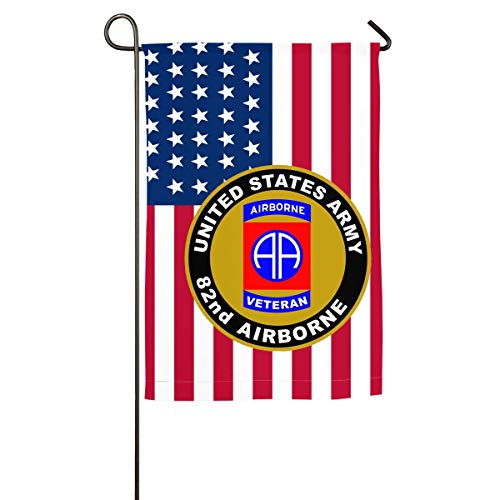 nluhao US Army Veteran 82nd Airborne Family Single-Sided Decorative Garden Flag Banner for Yard Home 12 X 18 Inch,18 X 27 Inch Black