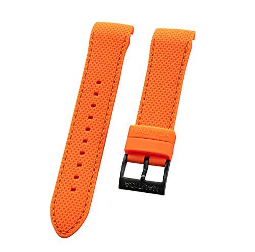 Nautica Herren N18674G | A18674G NST Aluminium Multi 22mm Sicherheit Orange PU | Original Armband aus Gummi | Schwarze PVD-Schnalle