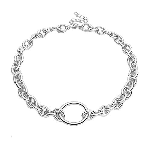 Oce180anYlv Halskette Beauty Neck Punk Women Hollow Circle Pendant Linked Curb Chain Necklace/Bracelet Schmuck