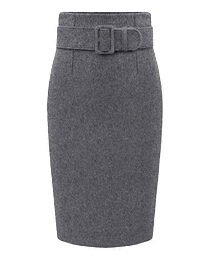 ANDYOU Women's Plus-Size Wear To Work Thickened Woolen Midi Skirt Dark Grey XL