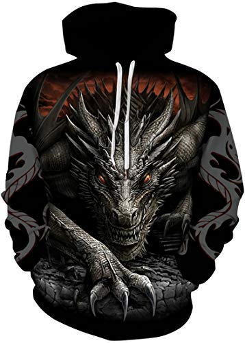 Chaos World Herren Halloween Hoodie 3D-Druck Imagic Pullover Langarm Gemustert Sweatshirt(1Schwarzer Drache,L)