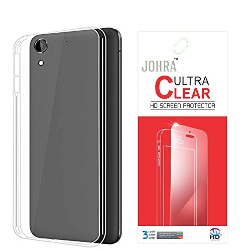 Johra Transparent Soft Back Case Cover with Screen Guard for HTC Desire 728G