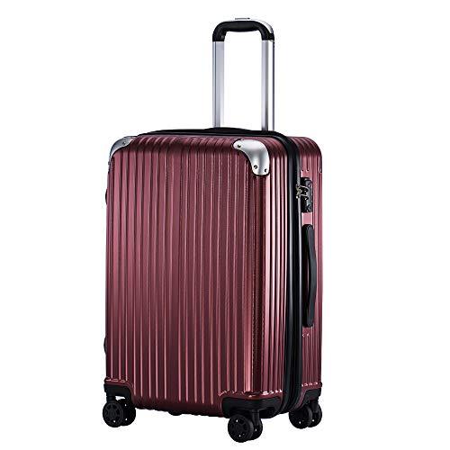 (TTOバリジェリア)TTOVALIGERIA スーツケース Sサイズ機内持ち込み キャリーケース キャリーバッグ 容量拡張 軽量 静音 TSAロック搭載 ファスナータイプ 大型 (Lサイズ ワインレッド)