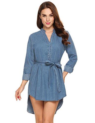 ACEVOG dames blousekjurk jeansjurk lange mouwen mini V-hals hemdjurk strandjurk vrijetijdsjurk casual jurk met riem