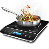 Portable Induction Cooktop, 1800W Max induction cooker with LCD Sensor Touch,9 Power Levels and 10 Temperature Setting,Touch Controls,4 hours Timer