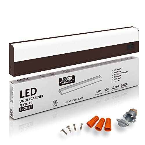"""Hardwired LED Under Cabinet Task Lighting - 12 Watt, 18"""", Dimmable, CRI>90, 3000K (Soft White), Bronze, Wide Body, Long Lasting Metal Base with Frost Lens"""