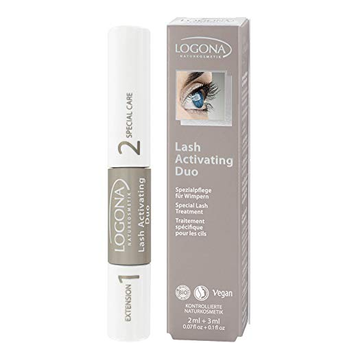 LOGONA Naturkosmetik Lash Activating Duo (Extension+Active Care), Natural Make-up, Wimpernserum, Wimpernverlängerung und -pflege in einem, Bio-Extrakte, Vegan, 5 ml