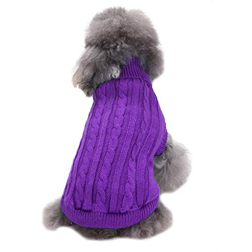 CHBORCHICEN Small Dog Sweaters Knitted Pet Cat Sweater Warm Dog Sweatshirt Dog Winter Clothes Kitten Puppy Sweater (Small, Purple)