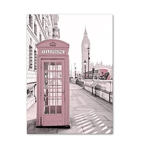 Cabina de teléfono rosa Carteles e impresiones nórdicos Arte de la pared Pintura de la lona Cuadros de la pared para la decoración de la sala de estar Mural-50x70 cm x1 Sin marco