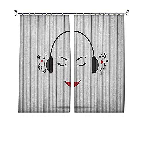 Cortinas plisadas con aislamiento térmico para escuchar música, auriculares con diseño de chica sonriente con ojos cerrados, para travesaños y carriles, 52 x 72 pulgadas, color negro y blanco