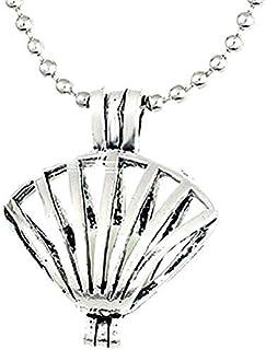 Legisdream Collar de Concha Gota Redonda y Brillante Perla Brillan en la Oscuridad de Plata joyería Gift Ideas Festival Am...