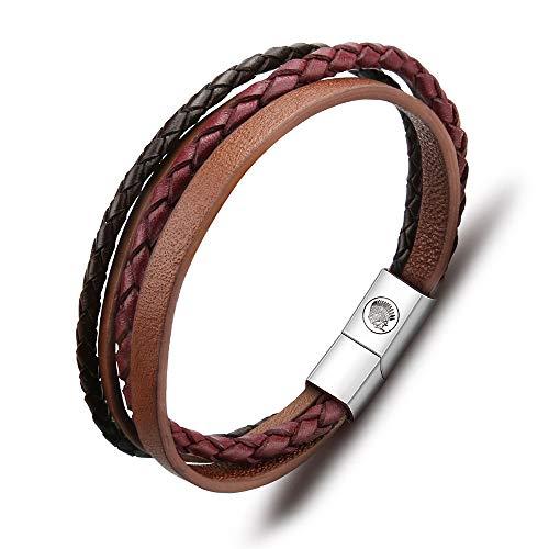 Lederarmband Herren Armband Herren Männer Leder Edelstahl – Casisto.J Mit Gravur Schwarz Braun Geflochten mit Magnet Verschluss (22cm) (Brown, 20)