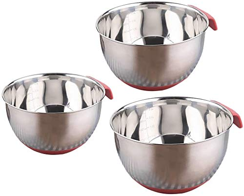 3 Pcs Mixing Bowl Set Nesting Bowl for Fruit Flat Base Dishwasher Safe (Color : Silver)