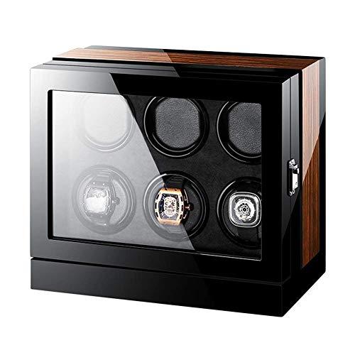 XIUWOUG Caja giratoria automática para relojes con 6 pantallas LCD, pantalla táctil, iluminación incorporada, indicador de reloj, acabado de piano, motor silencioso