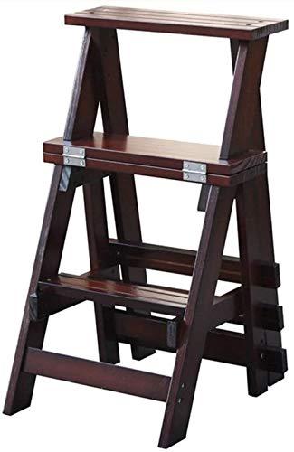 Escalera plegable de tres pasos de la escalera de madera - Casa interior de la escalera interior Taburete de escalada de doble uso, escalera de cocina adulto pequeño taburete niño, soporte de flores p
