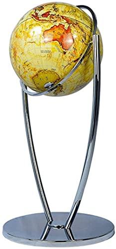 Globo terráqueo de pie de 16,5 Pulgadas con Soporte de Espejo de Metal Plateado Globos geográficos Antiguos Globo terráqueo Giratorio Antiguo de 720 °