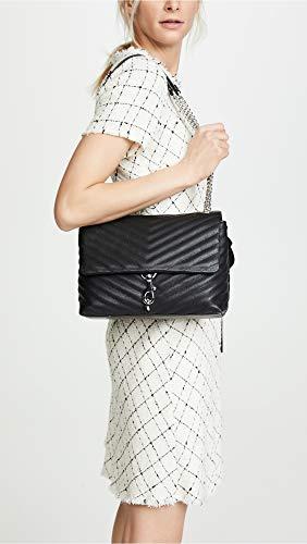 Rebecca Minkoff Women's Edie Flap Shoulder Bag, Black, One Size