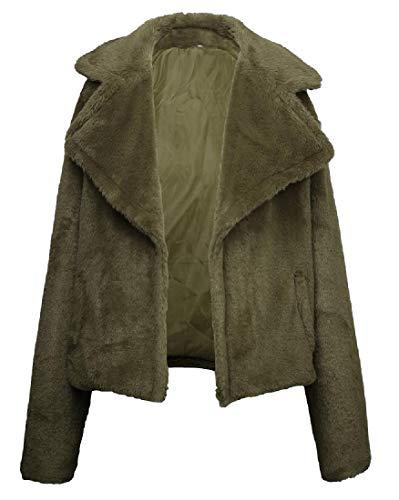 securiuu Damen Freizeit-Oberbekleidung Mantel Lange Ärmel Stehkragen Fleece Zotteljacke Gr. US Large, 3