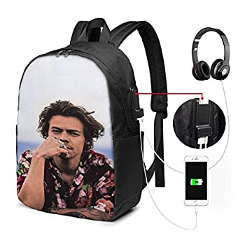 BUSAMEDO Harry-Styles Custom USB Backpack Unisex Student Adult Classic Laptop Bags Bookbag for School Office Travel 17 Inches
