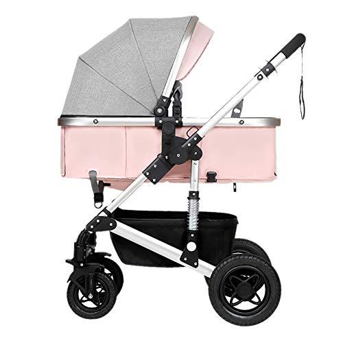 Yhz@ Cochecito de bebé, Plegable Ligero del Amortiguador de los niños Empuje los carros del bebé Infantil Carro de aleación de Aluminio Marco Sillas de Paseo (Color : Pink)