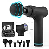 XtremepowerUS Quiet Powerful Electric Gun Cordless Percussion Massager w/ 6 Massage Heads Provides Full Body Relief for Muscle Ache, Pain, Tension