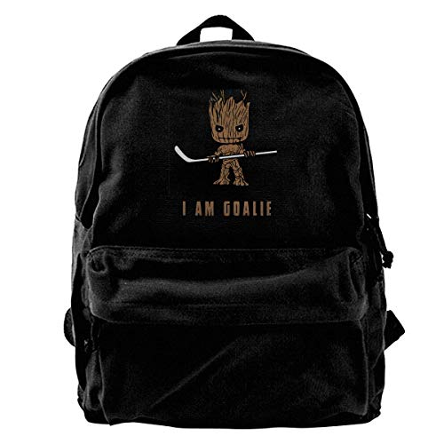 Canvas-Rucksack Groot I Am Goalie Hockey-Rucksack Gym Wandern Laptop Schultertasche Daypack für Männer Frauen